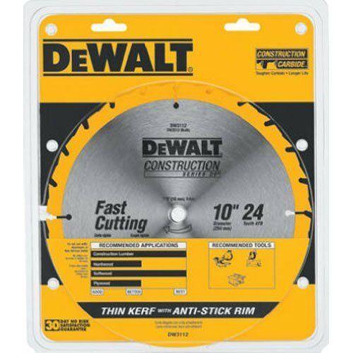 DEWALT DW3112 Series 20 10-Inch 24 Tooth ATB Thin Kerf Saw Blade with...