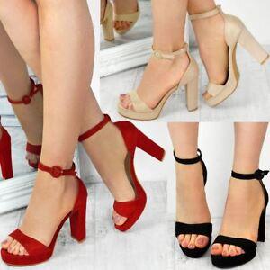 de00047f584 Womens Ladies Block High Heels Ankle Strap Sexy Open Toe Sandals ...