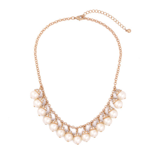 NEW Stylish Anthropologie Faux Pearl Rhinestone Dangling Gold Necklace