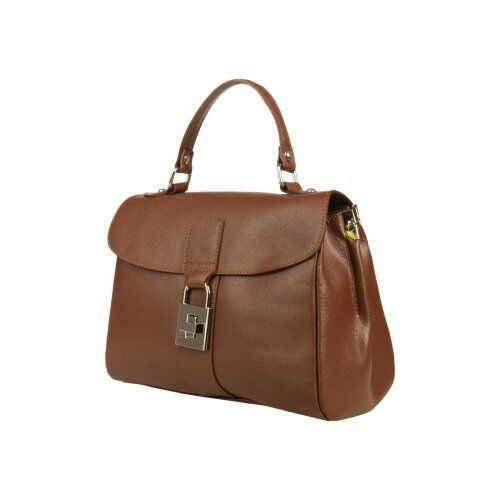 F In ItaliaItalian Leather Large Handbag Brown Made b Chestnut 000 25 m80OvnNw