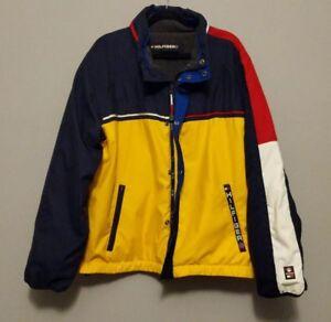 1c1e79ae55af9 Vintage 90 s Tommy Hilfiger Jacket Color Block Spell Out Logo Fleece ...