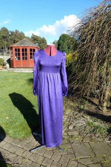 Vintage 1970's purple empire line maxi dress bust 36