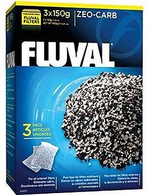 Fluval Zeo Carbon 450g 3 x 150g Aquarium Fish Filter Media Ammonia Remover