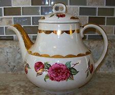 Vtg Tea Pot wLid Gibsons Staffordshire England Red Rose & Gold