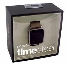 Pebble Time Steel 38mm - Android or iOS Smartwatch - Stainless Steel / Leather