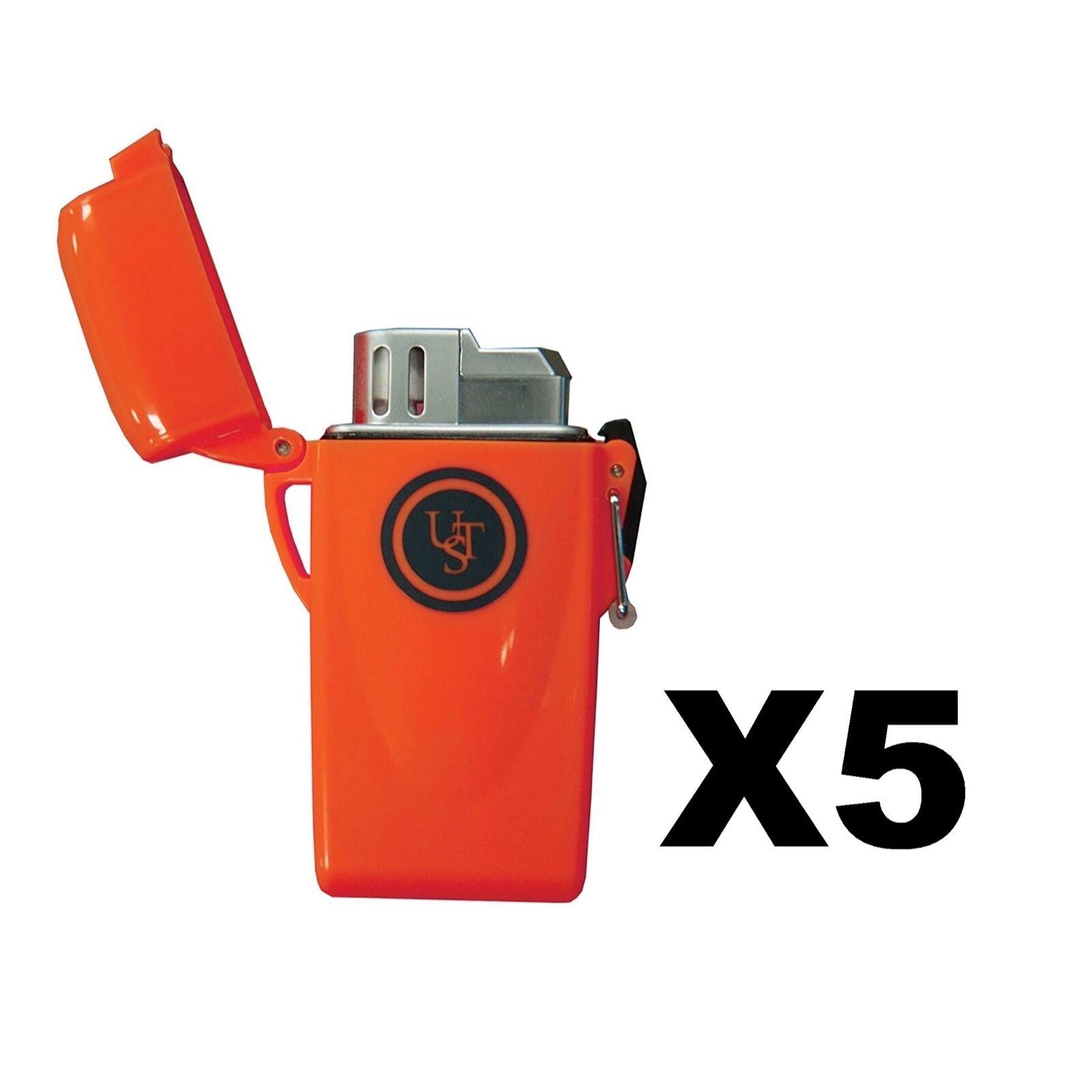 Ultimate Survival Technologies Stormproof flotante encendedor herramienta de Naranja (5 paquetes)