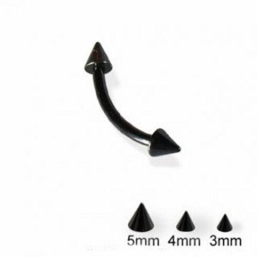 """Sourcils Courbe avec pointes 4 mm 14 gauge 3//8/"""" Titanium Ion Plaqué Noir Barbell Body Jewelry"""