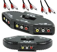3 fach A/V Umschalter, Audio Video Cinch Verteiler mit 3 Stück Stereo Cinchkabel