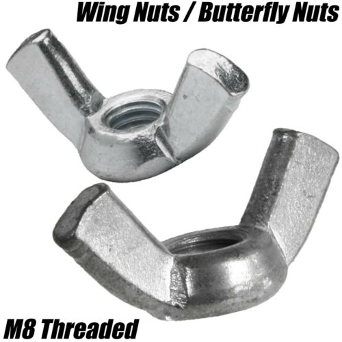 M8 8mm WING NUTS BUTTERFLY HAND NUTS THREADED DIN 315 BRIGHT METAL ZINC PLATED