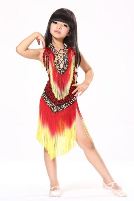 Children Latin Dance Dress Salsa Dress Belly Dance Costume Kids height 135-155cm