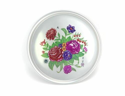 Korean Vintage Tray Round Plate Flower Printed Tray Retro Tray 시골 쟁반