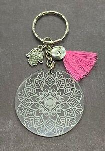 Mandala-Engraved-Acrylic-Keyring-Hamsa-Charm-Tassel-Stocking-Stuffer-Gift-Ideas