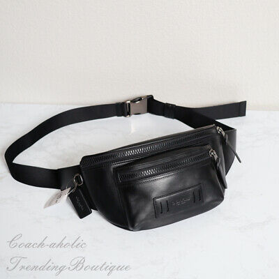 New COACH F75776 Mens TERRAIN Belt Fanny Crossbody Leather Bag Black $298 NWT