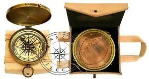 034-Robert-Frost-Poem-034-Engraved-Antiquated-Brass-Pocket-Compass-With-Leather-Case