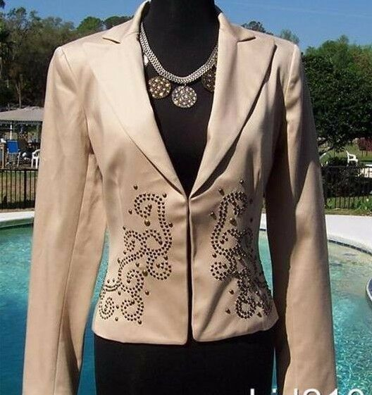 Cache Metal Stud Embellished Lined Top Jacket New XS S M L Lined Sand Beige
