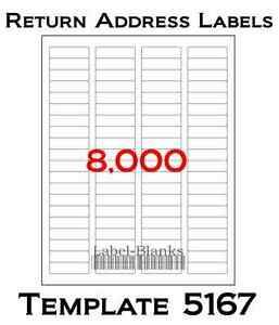 8000 laser ink jet labels return address fits size 5167 for Avery templates 5167 blank