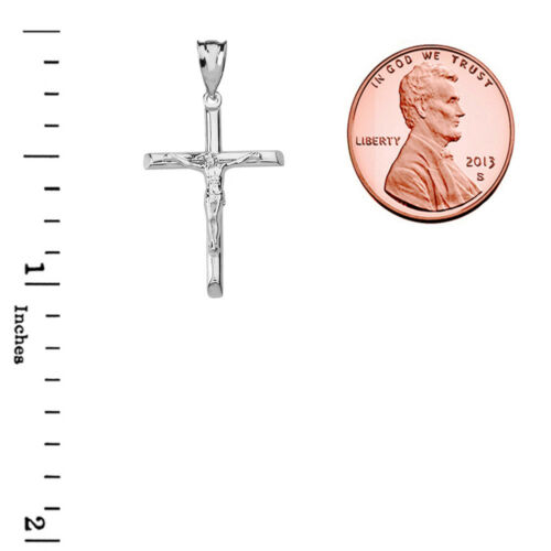 .925 Sterling Silver Crucifix Cross Pendant Necklace