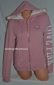 66bccaa14da8f Details about Victoria's Secret PINK White Logo Sherpa Lined Hoodie Perfect  Full Zip Jacket M