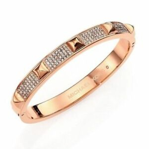 Michael Kors Pave Studded Bangle Bracelet Rosegold Crystals Mkj3824