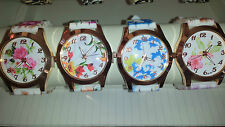 Job lot of 20 pcs Rubber Silicone Flower print gel Watches new wholesale - lot C