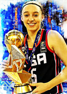 2021 Paige Bueckers Team USA Uconn Huskies 11/25 Art ACEO Print Card By:Q