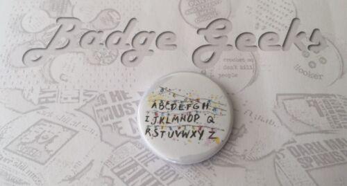 Stranger Things 25mm//1in Alphabet Wallpaper Pinback Button Badge White #1
