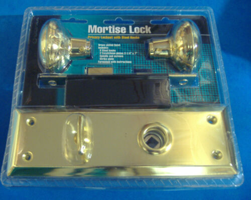 MORTISE LOCK PRIVACY LOCKSET WITH BRASS DOOR KNOBS WITH BRASS BASE VINTAGE STYLE