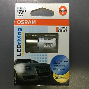 2x-OSRAM-LED-PY21-PY21W-BAU15s-7457YE-1w-12v-Yellow-LED-Car-Light