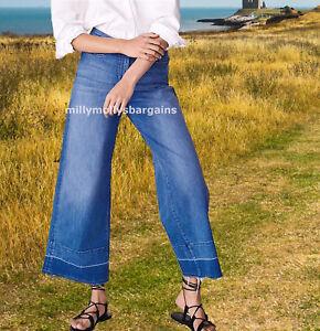 Nouveau-Femme-Bleu-a-Jambe-Large-Next-Jeans-Taille-14-12-x-long-Regulier-RRP-30