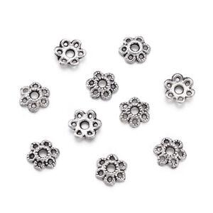100pcs Tibetan Silver Flower 6-Petal Bead Caps Lead Free Cone Spacer Beads 6.5mm