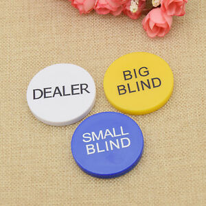 Texas-Hold-039-em-Poker-Chips-Big-Blind-Small-Blind-Dealer-Button-Gelb-Blau-Weiss-3x
