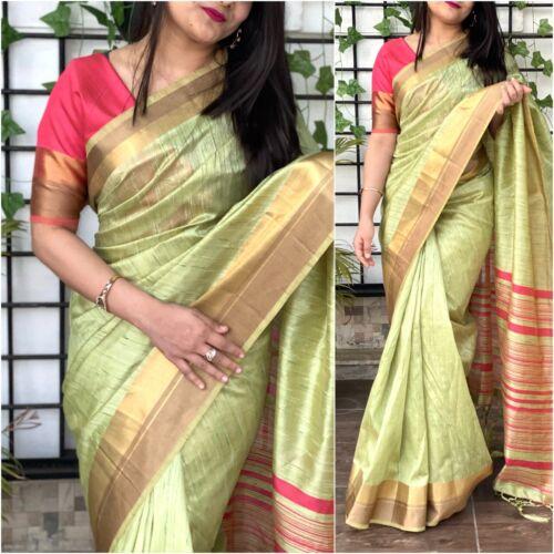 Cotton Silk Saree Blouse New Indian Sari Wedding Party Wear Women/'s Clothing