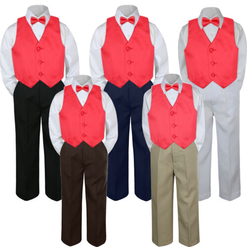 New 4pc Red Fire Rudy Vest Bow Tie Suit Pants Set Baby Boy Toddler Kid Uniform