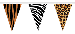 African Animal Print Polyester Bunting 10m with 24 Flags