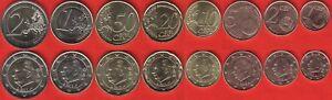 Belgium euro full set : 1 cent 8 coins 2 euro 2011-2013 UNC
