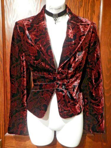 Adrianna Red Wine S 6 blazer 4a Gothic jasje Top zwart fluweel avond Papell 66pq1Ur
