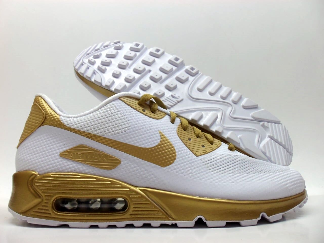 NIKE AIR MAX 90 HYPERFUSE PREMIUM ID WHITE gold SIZE MEN'S 9.5 [822560-997]