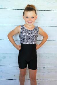NEW-Child-2-4-XXS-6-8-Biketard-Leotard-Unitard-Black-Dance-Gymnastics-Toddler