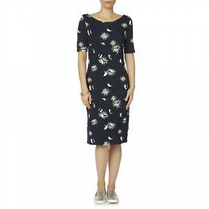 e5e68d098870 Simply Styled Women s Midi Shift Dress Stretch Navy Tan Floral Print ...