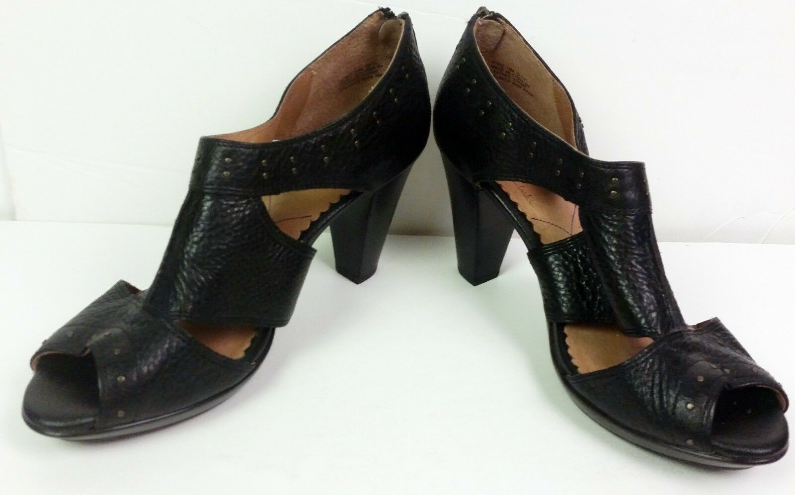 Indigo CLARKS Bardolino Femmes Noir Chaussures en cuir Zipper Brass Rivets 10