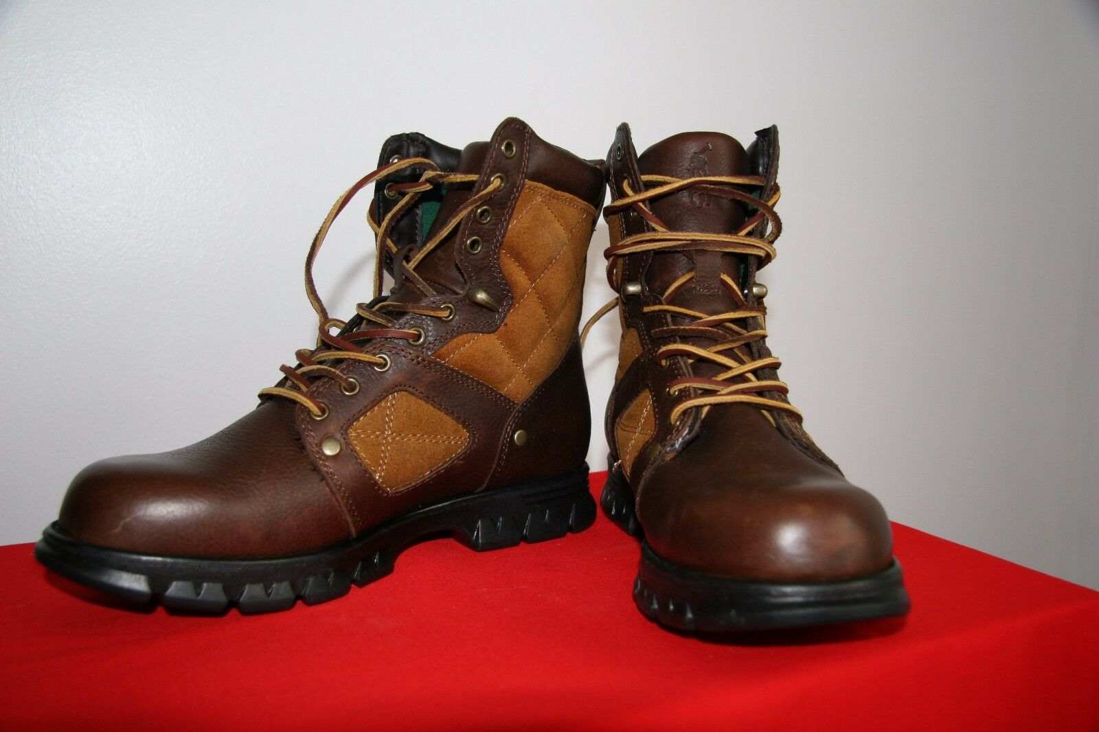 POLO NEW brown leather lace up HIKING BOOTS men's size 8D (women's size 10)