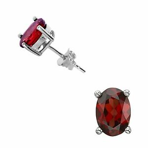 925-Sterling-Silver-5x7-Oval-Garnet-Stud-Earrings