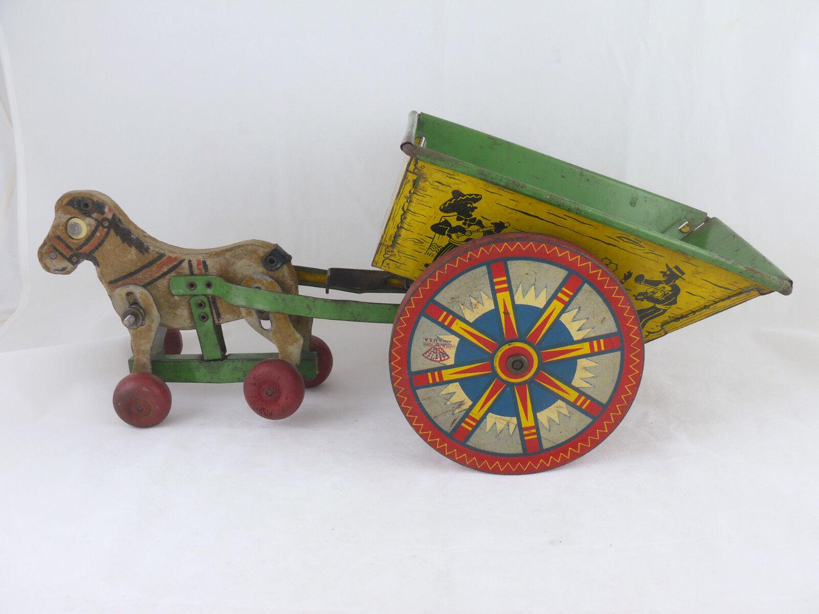 1948-1955 Horsedrawn elenee carro de juguete de estaño 15.5 Pulgadas W mexicanos canto, baile