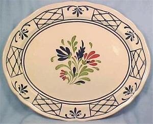 Johnson-Brothers-Provincial-Platter-Oval-Serving-Meat-Vintage-Blue-Red-Flowers
