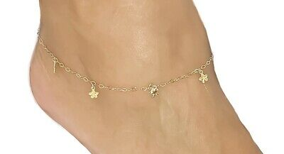 14k Gold Fancy Butterflies Yellow Gold Anklet Adjustable 9-10 Inches