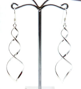 lange-Spirale-Ohrringe-gedreht-925-Sterling-Silber-Schmuck-Ohrhaenger-Neu