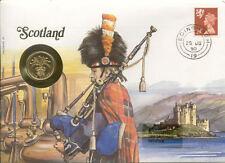 superbe enveloppe ECOSSE SCOTLAND pièce monnaie 1 £ 1989 UNC NEW timbre