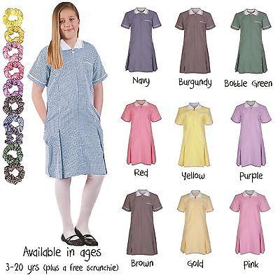 Ages 3 20 Girls Summer Gingham School Dress Pleated Sky Blue Purple Red Green | eBay