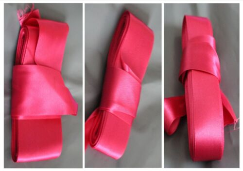 various widths 10 /& 5 metre lengths Cerise double sided satin ribbon