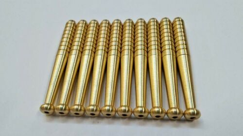 """LOT OF 10  REAL BRASS METAL ONE HITTER PIPE  DUGOUT BAT 3/""""  USA MADE TOBACCO"""